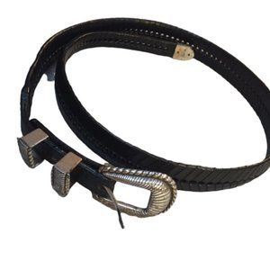 Black Leather and Silver (1995) Belt Size 38